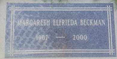 ELFRIEDA BECKMAN, MARGARETH - Los Angeles County, California | MARGARETH ELFRIEDA BECKMAN - California Gravestone Photos