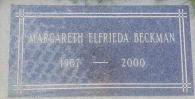 ELFRIEDA BECKMAN, MARGARETH - Los Angeles County, California   MARGARETH ELFRIEDA BECKMAN - California Gravestone Photos