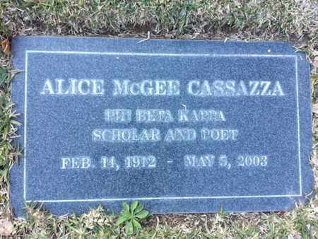 MCGEE CASSAZZA, ALICE - Los Angeles County, California | ALICE MCGEE CASSAZZA - California Gravestone Photos