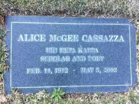 MCGEE CASSAZZA, ALICE - Los Angeles County, California | ALICE MCGEE CASSAZZA - California Gravestone Photos