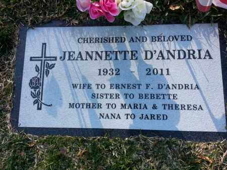 D'ANDRIA, JEANNETTE - Los Angeles County, California | JEANNETTE D'ANDRIA - California Gravestone Photos
