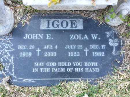 IGOE, ZOLA W. - Los Angeles County, California | ZOLA W. IGOE - California Gravestone Photos