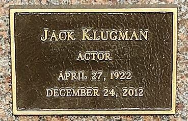 KLUGMAN, JACK  (ACTOR) - Los Angeles County, California | JACK  (ACTOR) KLUGMAN - California Gravestone Photos