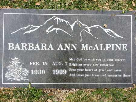 MCALPINE, BARBARA A. - Los Angeles County, California | BARBARA A. MCALPINE - California Gravestone Photos