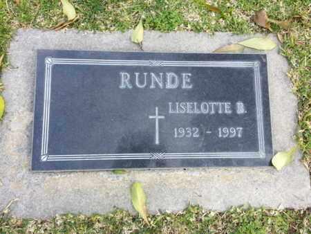 RUNDE, LISELOTTIE B. - Los Angeles County, California   LISELOTTIE B. RUNDE - California Gravestone Photos