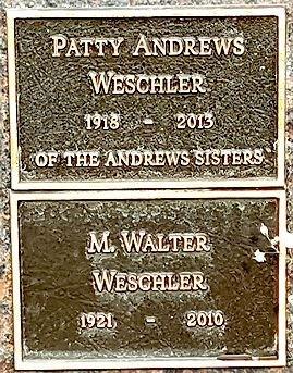 ANDREWS WESCHLER, PATTY (SINGER) - Los Angeles County, California | PATTY (SINGER) ANDREWS WESCHLER - California Gravestone Photos