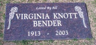 KNOTT BENDER, VIRGINIA - Orange County, California | VIRGINIA KNOTT BENDER - California Gravestone Photos