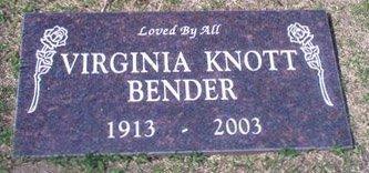 KNOTT BENDER, VIRGINIA - Orange County, California | VIRGINIA KNOTT BENDER - California Gravestone Photos