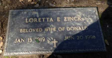 ZINCK, LORETTA - Sacramento County, California | LORETTA ZINCK - California Gravestone Photos