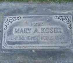 KOSER, MARY ALICE - Sutter County, California   MARY ALICE KOSER - California Gravestone Photos